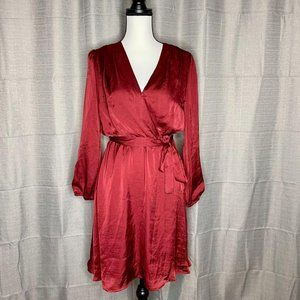 Red Satin Long Sleeve Button Wrap Robe